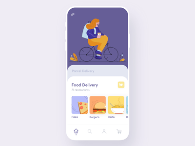 Mobile App - Food Service payment app pay food app food service app bike girl colors food delivery delivery app illustration ui clean