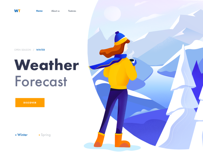 Landing Page - Weather Forecast nature illustration ui website afterglow winter girl weather app weather illustration clean landing