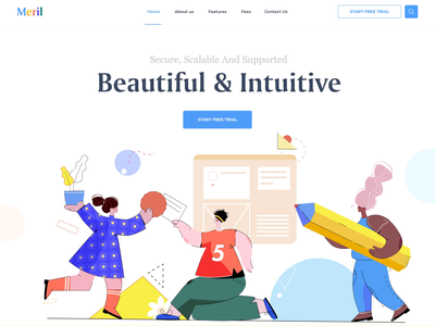 Meril - Landing Page geometry patterns illustrations animation app management colorful homepage illustration clean landing afterglow