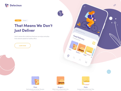 Landing Page - Delicious homepage design illustrations app mobile web design transactions home page animation minimal afterglow illustration patterns pattern service app service delivery food app food homepage clean