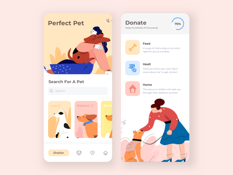 Mobile App - Pet Shelter family animals pet shelter pets dogs mobile app app illustration ui clean
