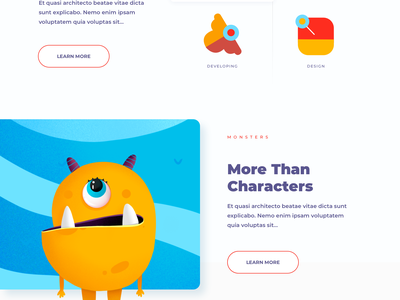 Monsters - Landing Page illustrations webdesign illustration art animation web design characters character game art animated hero game design monsters monster gaming game hero app illustration landing afterglow