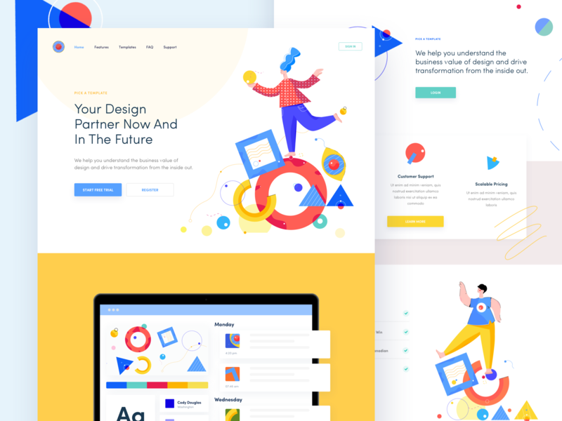 Brixon - Landing Page prototype webflow web style guide colors management pattern illustration landing ui clean