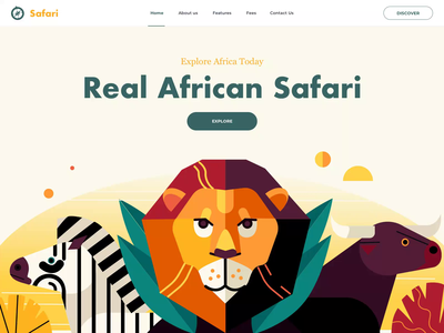 African Safari - Landing Page explore discover tour animals africa safari animation website illustration landing clean