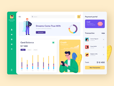 Payment Dashboard bank card credit color illustration illustrations ui bank app app bank payments payment dashboard