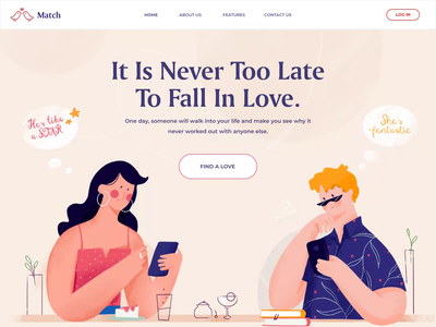Match - Dating Landin Page chat app chat lovers love tinder match dating app dating landing page landing homepage website illustration ui clean
