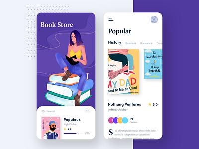 Book Store App illustrations store app reading books store mobile mobile app app illustration clean