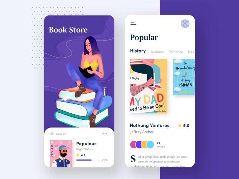 Book Store App illustrations store app reading books store mobile mobile app app illustration clean