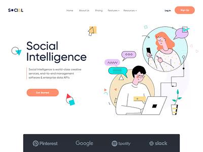 Social Intelligence - Landing page illustrations web design service website clean ui collaboration network data app data social media minimal app design app management home page animation social landing