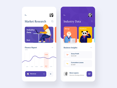 Financial App mobile business marketplace data industry reports finance app illustration afterglow clean