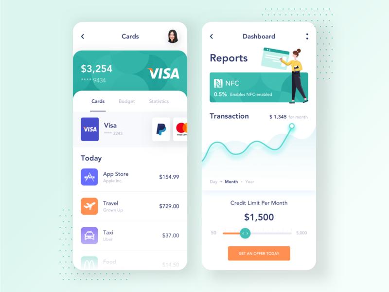 Banking Mobile App transactions analitycs dashboard cards finance app banking app banking mobile app mobile minimal app illustration ui clean