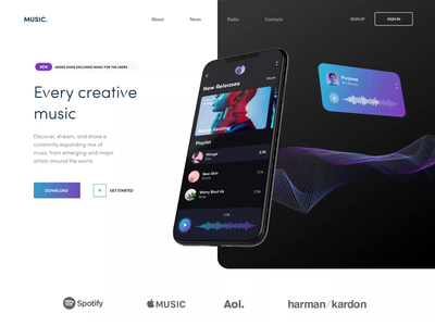 Music - Landing Page songs commercial music app music animation mobile app mobile app landing ui clean
