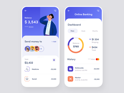 Mobile App - Online Banking marketing ui mobile clean dashboard app banking payments transactions banking app bank