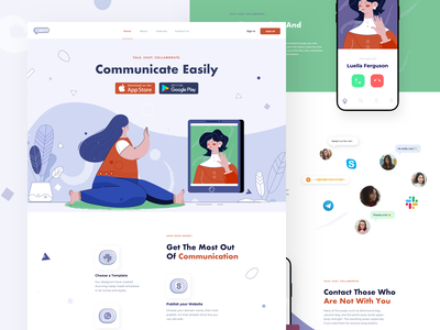 Communicate - Landing Page chat app chat skype communication app clean ui landing illustration