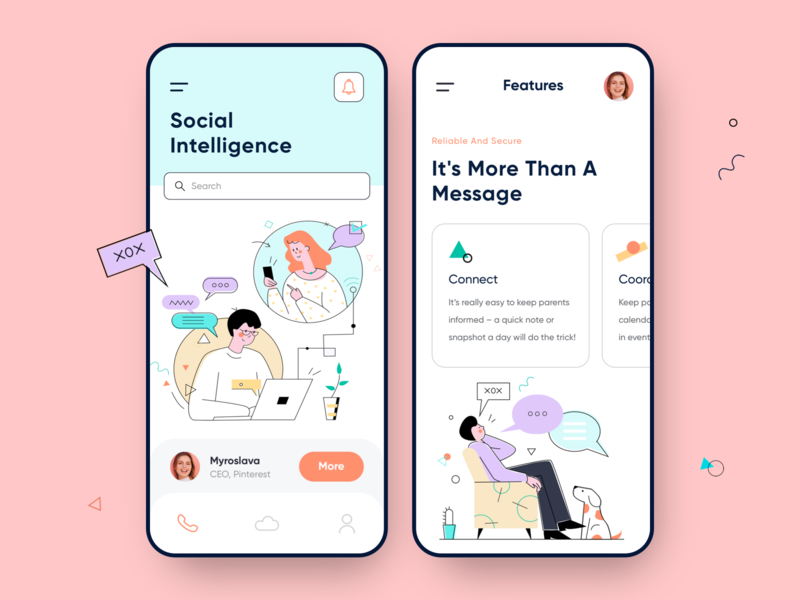 Social Mobile App illustrations responsive design responcive social app social chat app chat collaboration management colorful mobile app mobile minimal app illustration ui clean