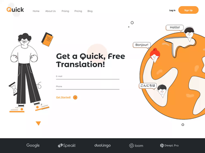Quick Translation - Landing Page web design lessons courses landing page english vector animation illustration minimal website landing ui clean afterglow