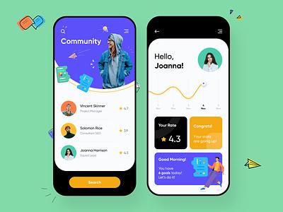 People Recruitment Mobile Application investors startups mobile illsutration profile recruitment find people community mobile app color minimal app ui clean