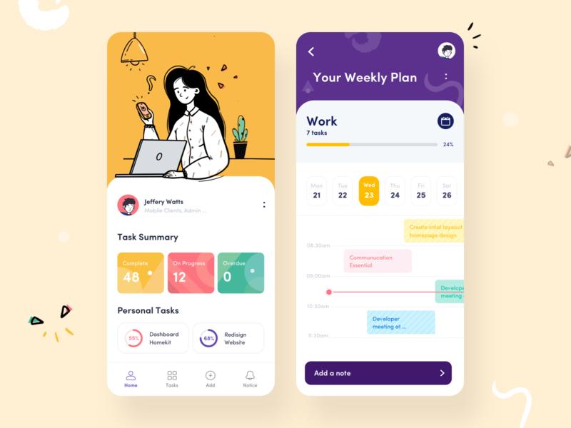Task Management App mobile app design colors collaboration minimal workflow design process task list management app management mobile app ui afterglow clean app illustration