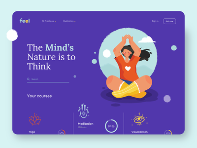 Meditation Courses for Women - Home Page service relax courses girl yoga asana meditation design homepage website landing illustration clean