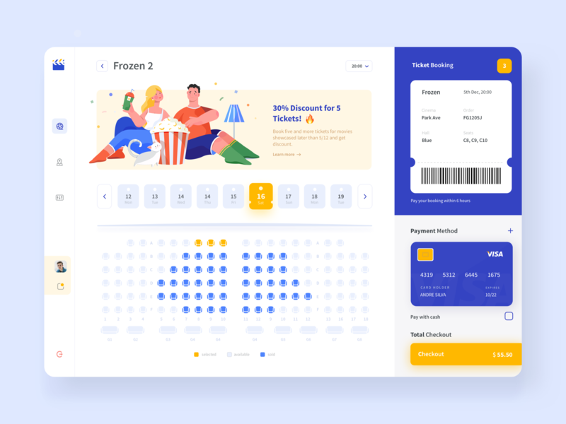 Tickets Booking Dashboard tickets pay films movie cinema booking dashboard app dashboard minimal illustration clean
