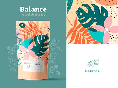 Tea Brand Concept illustration typography package design tea brand design pastel logotype logo pattern branding brand identity