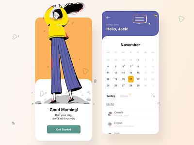 Planning Mobile App calendar management tool manage management planning planner mobile app ui homepage app illustration clean