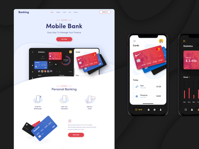 Banking Landing Page bank card bank app bank transactions ux ui payments cards money transfer banking app money banking mobile dashboard homepage website minimal landing afterglow clean