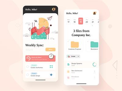 Cloud Drive Mobile App folders finder sync drive goals planer management app illustration patterns pattern design color app minimal clean