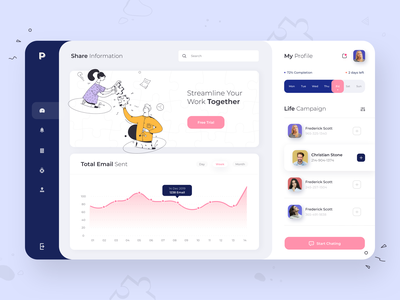 Puzle Dashboard marketing email chat analitycs dashboard minimal illustration ui clean afterglow