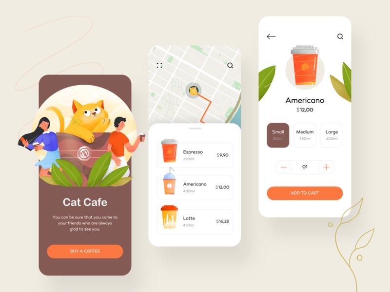 Cat Cafe Mobile App mobile app restaraunt booking cat coffe cafe mobile app illustration clean