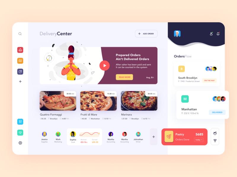 Food Delivery Dashboard statistics order delivery app delivery food dashboard illustration ui afterglow clean
