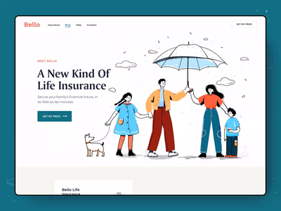 Bello Insurance Landing branding landing colors patterns cover life insurance website homepage illustrations illustration afterglow clean