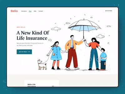 Bello Insurance Landing pattern minimal animation landing page brand identity branding landing colors patterns life insurance website homepage clean