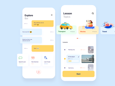English App lessons english mobile app minimal ui illustration afterglow clean
