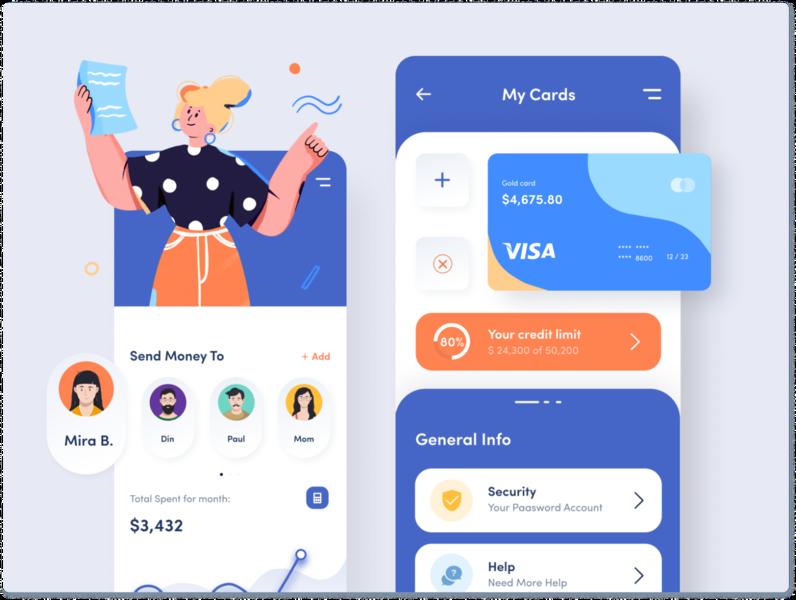 Banking App payments wallet illustration clean app mobile bank app money transfer money app banking
