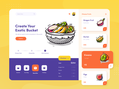 Exotic Fruits Dashboard fresh fruits order ordering dashboard design dashboard branding illustration afterglow clean