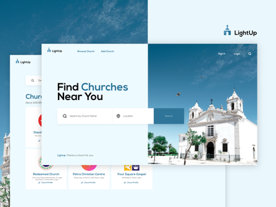 LightUp UI Design web webdesign gospel ux design ui typography worship church minimal layout page landing interface creative clean landing page