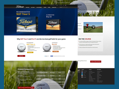 Titleist - Golf Ball Fitting Page product web design webdesign branding design website titleist golf html