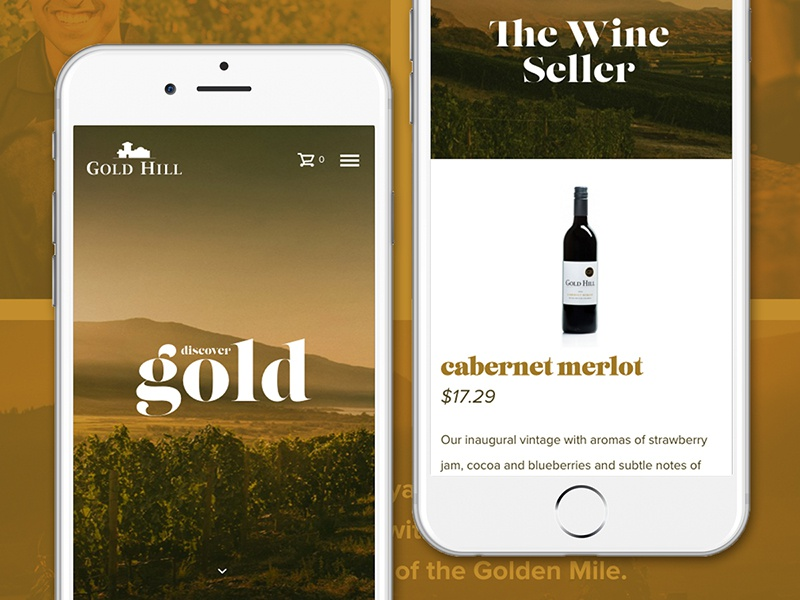 Gold Hill Responsive typography ux ui wordpress photography wine grid responsive iphone homepage