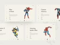 Marvel DC crossover website vintage style design