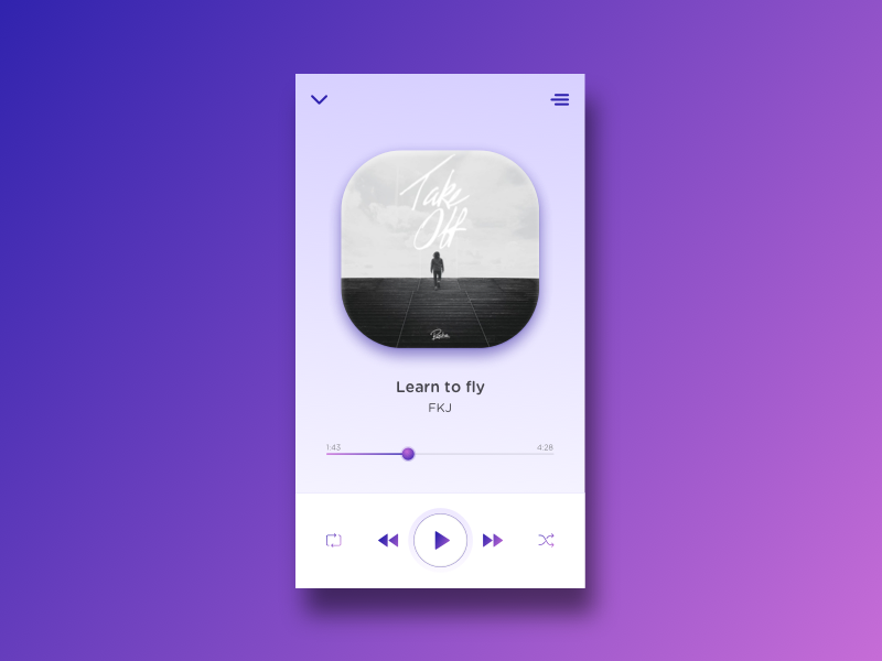 App | Music player 🎵 [11/30] daily creative challenge ui app music player julie charrier flat illustration vector sketchapp minimalism