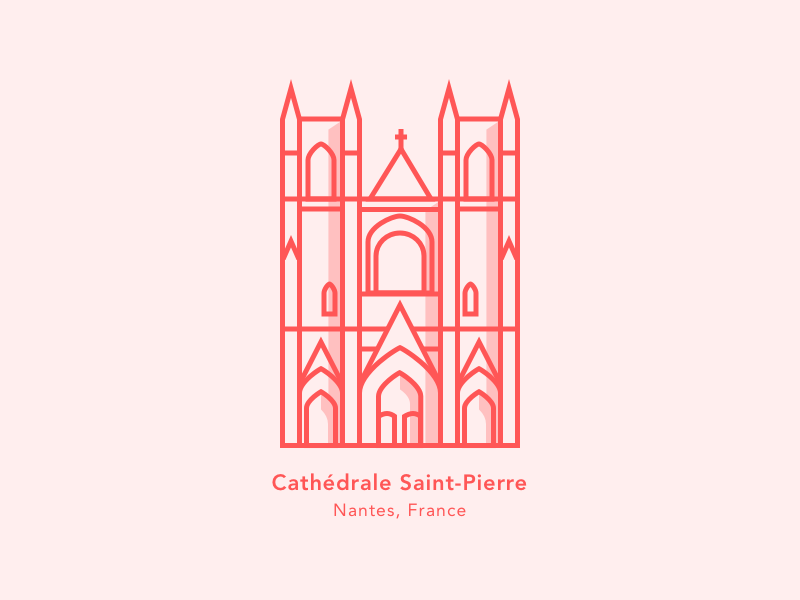 Illustration | Saint-Pierre's Cathedral ⛪️  [28/30] nantes icon minimalism sketchapp illustration julie charrier ui daily creative challenge church cathedral