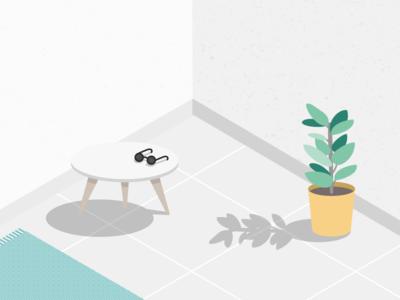 Illustration | Endless summer 🌿 home plant summer julie charrier isometric illustration vector sketchapp minimalism