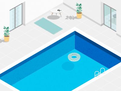 Illustration | Swimming pool 💦 minimalism sketchapp vector illustration isometric julie charrier summer plant pool swimming pool