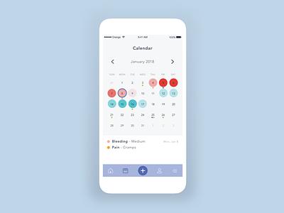 App | Clue - Calendar app clue minimal ui web design woman ovulation tracker periods health julie charrier sketchapp