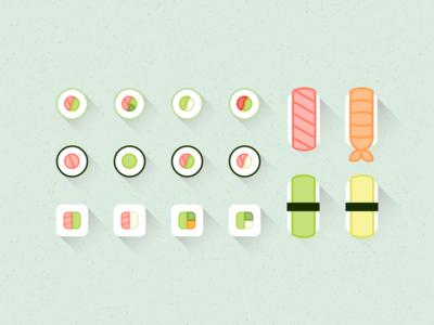 Icons | Japanese food icons 🍣 japanese california rolls spring rolls asian food asian makis sushi flat icon vector minimal minimalism sketchapp julie charrier