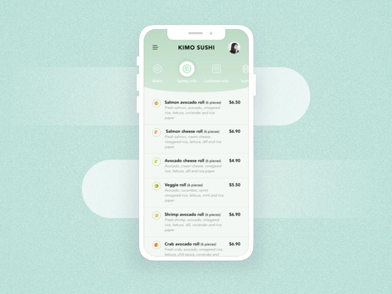 App | Kimo sushi delivery #1 🍱 order food menu order delivery sushis app ux flat vector minimal ui sketchapp julie charrier