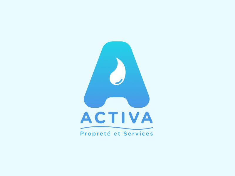 Logo | Activa 💧 visual  identity lettering letter blue drop logo flat vector minimal sketchapp julie charrier