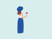 Illustration   Woman with a poppy 🌺