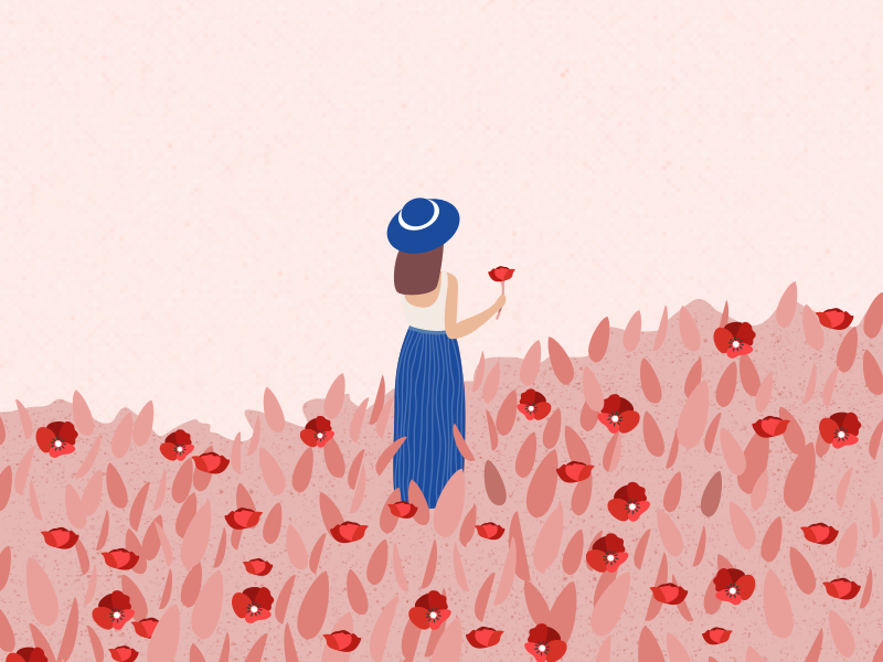Illustration | Woman in a poppies field 🌺 hat dress flower poppy summer lady woman vector minimal illustration sketchapp julie charrier